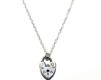 Sterling Silver Vintage Tiny Heart Padlock Necklace