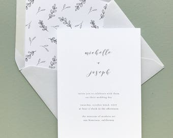 Delicate Minimalist Wedding Invitation Suite Sample or Deposit / #1127