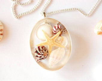Jewelry Resin Starfish and Shells Natural
