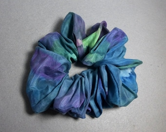 "Silk Scrunchie (Large) ""Teal  Blend"", Hand Painted Silk Hair Scrunchie"