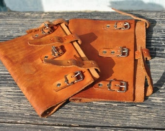 Leather gaiters, vintage gaiters, brown leather gaiters, hiking gaiters, army gaiters, army spats, military gaiters, leather spats