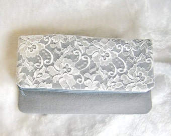 Personalized bridesmaid clutch, White Lace wedding clutch, bridesmaids foldover clutch purse, makeup pouch, rustic chic purses grey CL909