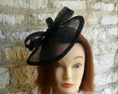 Black Wedding hat wedding fascinator Derby race fascinator races hat funeral hat black formal hat black statement hat church hat