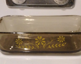 Glasbake Brown Glass Daisy Pattern - Loaf Pan
