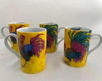 Ceramic Rooster Coffee Tea Mug Cup Konitz BonJour Germany Set of Four Tail Feathers 10 oz