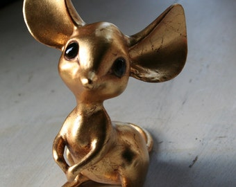 Gold Leaf Big Eared Mouse-Anthony Freeman McFarland-Numbered 142-Signed-Glass Eyes-Gold Leaf Pottery-Made in the USA-Vintage McFarland