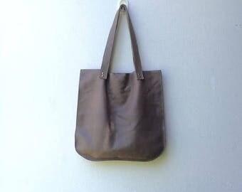 Grey leather bag,Grey leather handbag,Grey leather tote,Women tote bag