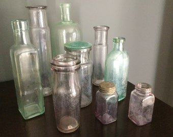 Antique Glass Bottle Collection Amethyst/ Green Lot