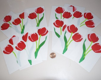 Mrs. Grossman's Large Red Tulip Flower Sticker Lot 12 Mods Vintage
