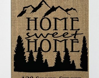 Home Sweet Home CUSTOM OPTION / family  / burlap sign / housewarming gift / new home/ birthday gift / family sign / christmas gift idea