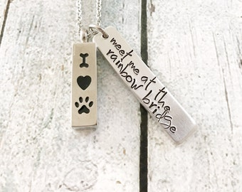 Pet loss - Hand stamped necklace - Pet memorial jewelry - dog or cat loss -  Rainbow bridge - Hand stamped necklace - Urn jewelry