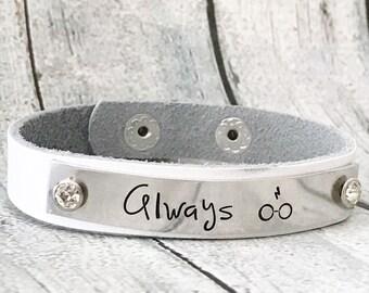 Always - Leather cuff - Cuff bracelet - Always jewelry - Hand stamped bracelet - Custom bracelet - HP jewelry - Leather bracelet