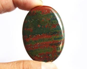 AAA+ Quality Natural Red and Green Bloodstone Oval Cabochon, Size 44X32X5 MM, Loose Semi Precious, Handmade, Jewelry Making Gemstone AG-4501