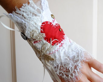 Victorian Tea-Party Lace Wrist Cuff,Steampunk Cream Lace Wrist Wrap with Red Heart,Torn and Tattered Red Heart-Ready to Ship