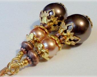 Swarovski Crystal Pearls, Pearl Earrings, Rose Gold Pearls, Mocha Brown Pearls, Handmade Earrings, Vintage Style Dangles, Victorian Earrings