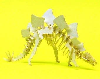 Stegosaurus Tiny Dinosaur Skeleton Bare Bones - Paper Puzzle Sculpture