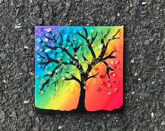 Original tiny small acrylic painting tree with gemstones crystals canvas