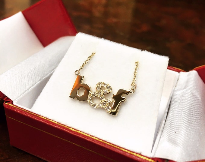 Initial and Diamond & Necklace in 14k Gold