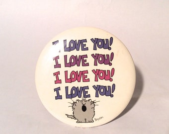 Vintage 1980s Gigantic Huge Sandra Boynton 'I Love You' Valentines Pinback/So So Cute!