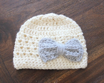 Girl Hat, Baby Girl Hat, Little Girl Hat-Cream Hat with Grey Bow