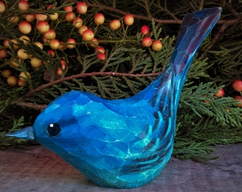 Hand Carved Windowsill Bird (Indigo Bunting)