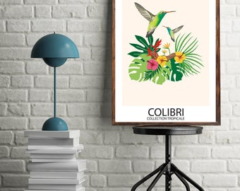 Digital Poster - Tropical Collection - Colibri Bird - Download and print