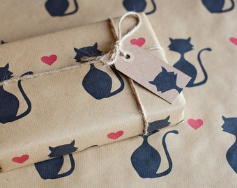 Handprinted Valentine's Day / Wedding Day Cat Kraft Wrapping Paper Incl 1 x Gift wrap, 2 x Gift Tags & Twine.