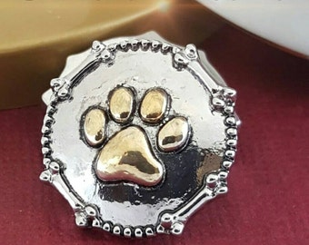 Snap Buttons, Paw Print, Snap on Jewelry, Pet Lover, Ginger Snaps, Chunk Snap, Noosa Snap, Gift Idea, Snap Button Charm, CT1115PAW