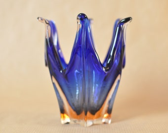 Murano Sommerso glass bowl - basket - stretched or pulled glass - blue glass, encased by orange and clear glass - hand blown art glas
