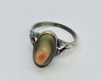 Sterling Silver and Blister Abalone Ring - Size 3