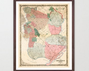 Brooklyn Map - NYC Map - Map Art - Map Decor - City Map - Brooklyn Art - Brooklyn Decor - Brooklyn Wall Art - Old Map City - Brooklyn Poster