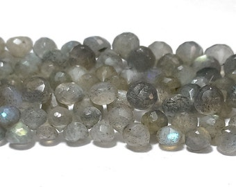 """100 % Natural labradorite 6mm-8mm onion faceted loose beads 8"""" strand"""