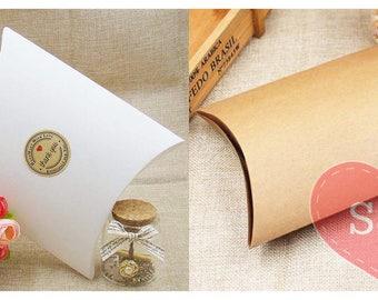 10x White/Brown Kraft pillow birthday/wedding party favour boxes lolly bags
