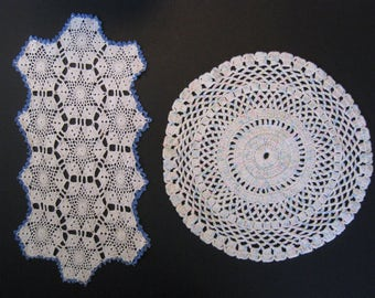 2 vintage doilies. long doily with blue border, round pastel rainbow doily. Mid century handmade crochet lace.