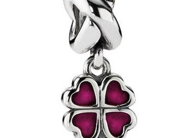 Authentic Pandora Four-leaf clover, fuchsia enamel