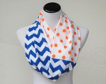 Orange royal blue chevron polka dot scarf Denver Broncos scarf, UF scarf Syracuse Orange infinity scarf football Super Bowl Cheer leading