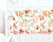 Maya's White and Coral Crib Bumpers | Peach, White, Coral, Floral, Flower, Pastel, Ruffled Baby Girl Nursery Bumpers