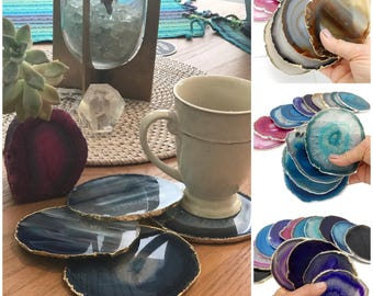 Agate Coasters Assorted Colors with Electroplated Silver Edge -  Agate Coaster Silver Plated - You choose   4, 6, or 8 Quantity  (RKCP)