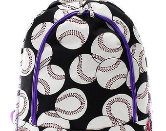 Personalized Baseball Print with Purple Backpack * Monogrammed Book Bag * Bookbag with Monogram Name Custom Embroidered
