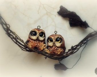 Cute little owls earrings from polymer clay