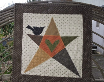 """Quilted Wall Warmer or Table Topper with Primitive Star and Crow   22"""" x 23"""""""