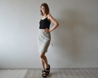 vintage high waist wool blend pencil mini skirt above the knee in light grey xs small size