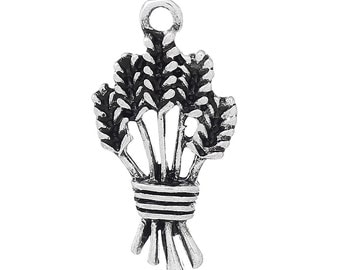 4 Wheat Charms Wheat Sheaf Pendant Threshing Grain Wheat Bundle Charm 4339