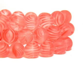 8mm Red Striped Frosted Beads, Red Candy Cane Beads, Frosted Red Beads, Red Striped Beads, Frosted Pink Beads, Matte Red Beads, T-19A