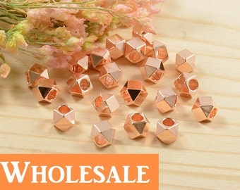 Diamond Cut Bead, 4mm, Faceted Spacer, Tarnish Resist, Rose Gold, Lead Free, Solid Brass Bead, 2.2mm Hole, WHOLESALE - 100 PCS/ order