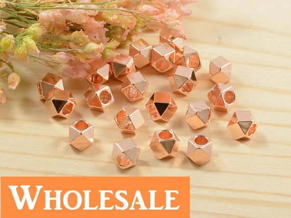 4mm Faceted Spacer Bead WHOLESALE ,Rose Gold Anti-Tarnish Plated Diamond Cut Bead, Large Hole Metal Spacer Bead,  - 100 PCS