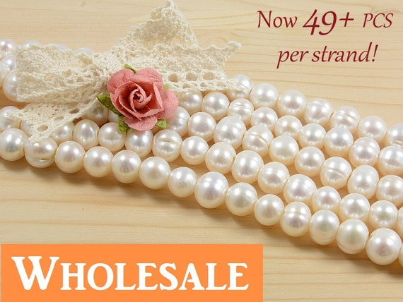 WHOLESALE 8mm - 9mm, large hole, 2.5mm hole, genuine freshwater pearls,  natural round, natural white color - 49+ PCS per strand