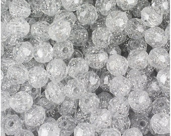 BeadTin Silver Sparkle 8mm Faceted Round Plastic Plastic Craft Beads (450pcs)