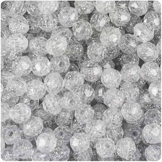450 Silver Sparkle 8mm Faceted Round Plastic Craft Beads - Made in the USA