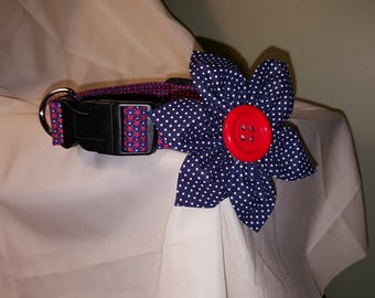 Patriotic Dog Collar & Flower, Patriotic Dog Collar, Adjustable Dog Collar, Flower Collar Dog Accessories